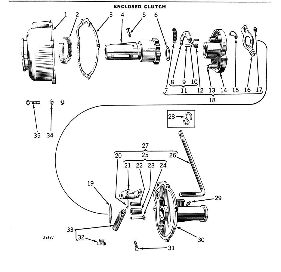 enclosed type clutch parts diagram